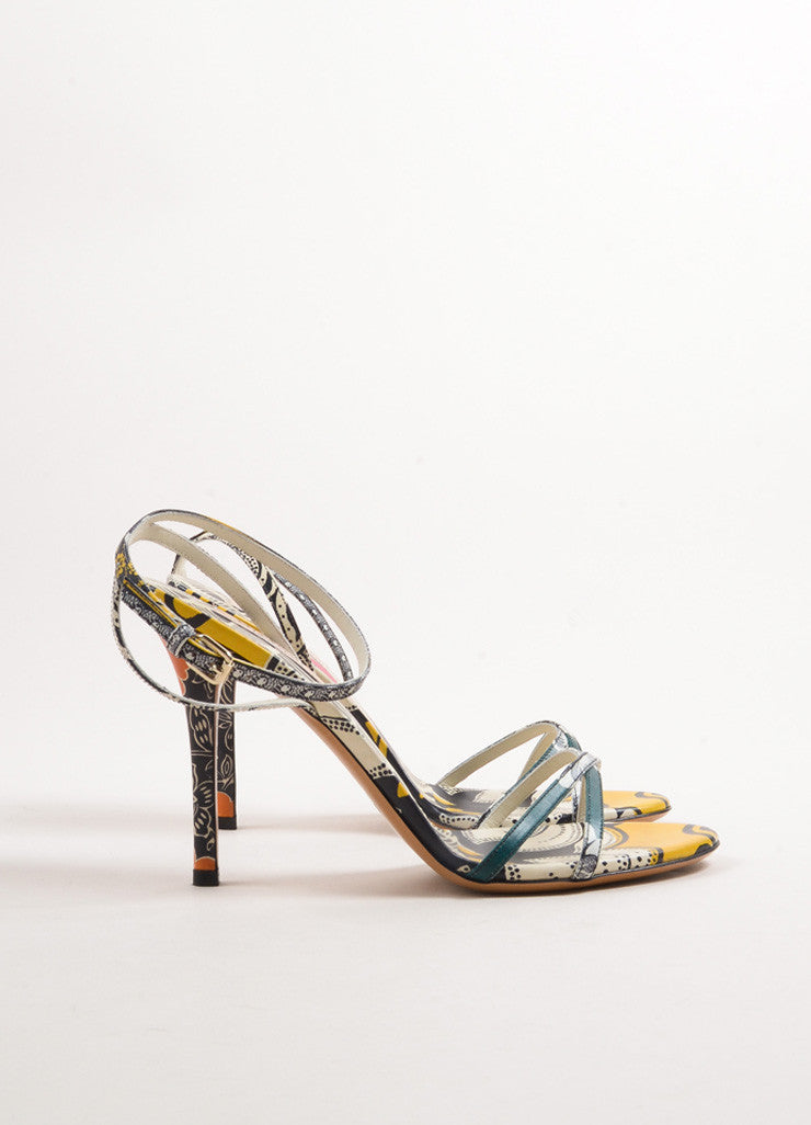 Valentino Multicolor Leather Floral Thin Strap Sandals Sideview