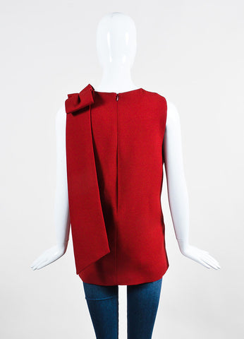 Red Valentino Wool and Silk Crepe Shoulder Bow Detail Sleeveless Shell Top Backview
