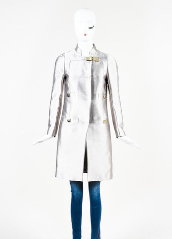Versace Collection Silver Metallic Medusa Buckle Hardware Coat Frontview 2