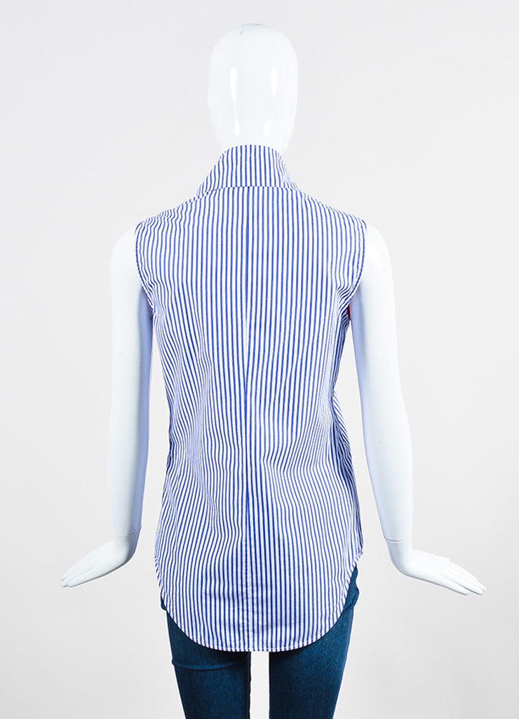 Blue and White Victoria Beckham Cotton Asymmetrical Tie Front Sleeveless Top Backview