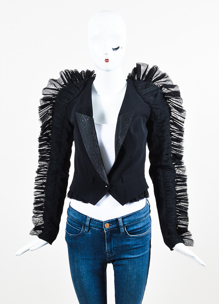 Viktor & Rolf Black Wool Mesh Ruched Ruffle Trim Blazer Jacket Frontview 2