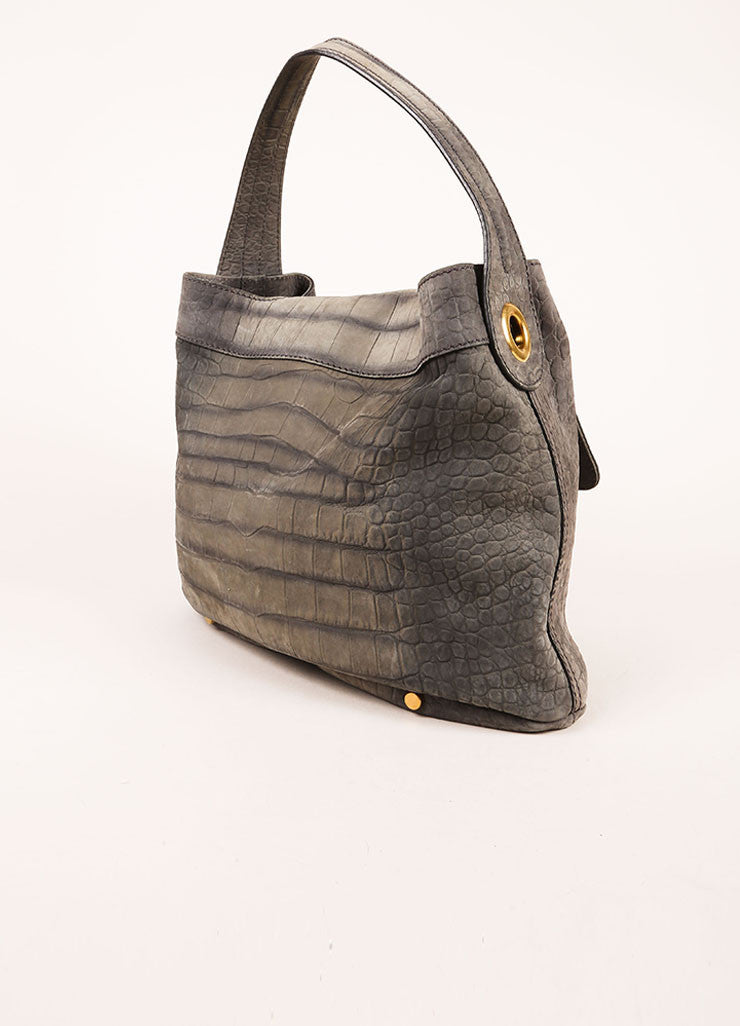"Yves Saint Laurent Grey and Gold Toned Crocodile Embossed Leather ""Capri"" Hobo Bag Sideview"