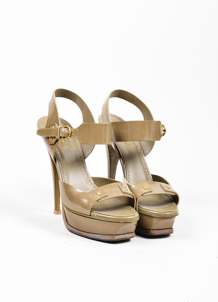 "Taupe Yves Saint Laurent Patent Leather Stud ""Tribute"" Sandals Frontview"