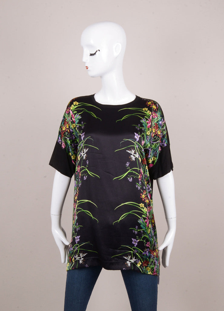 Black and Multicolor Floral Print Oversized Short Sleeve T-Shirt
