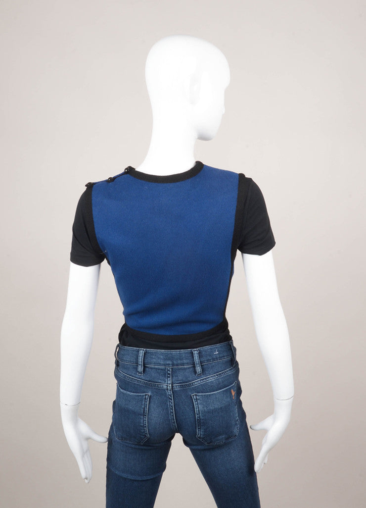 Blue and Black Wool Sleeveless Cropped Top