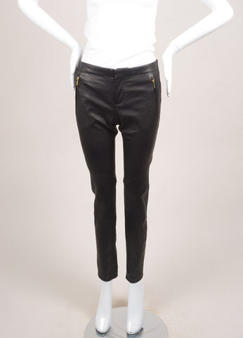 A.L.C. New With Tags Black Leather Zip Skinny Pants Frontview