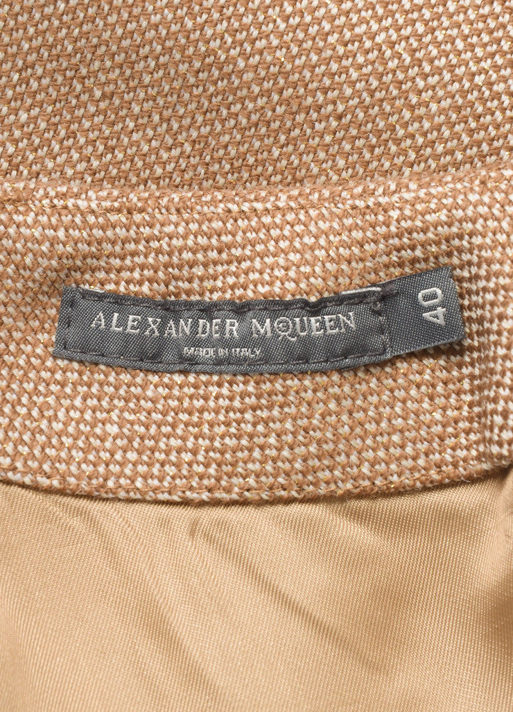 Alexander McQueen Brown and Cream Wool Gold Detail Plastic Trim Mini Skirt Brand
