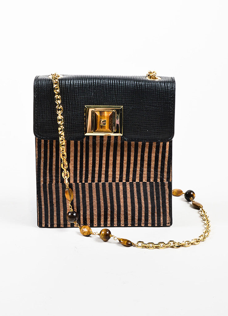 Cognac and Black Andrew Gn Colubro Leather Striped Shoulder Bag Frontview