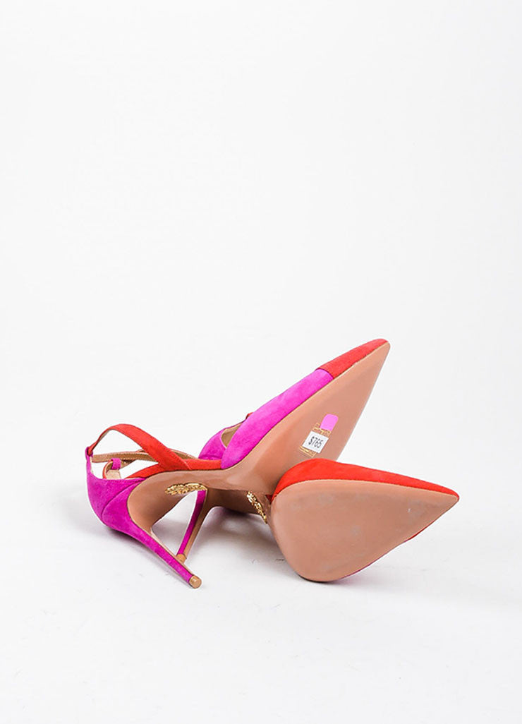 Red and Pink Aquazzura Suede Color Block Ankle Strap Pointed Pumps Outsoles