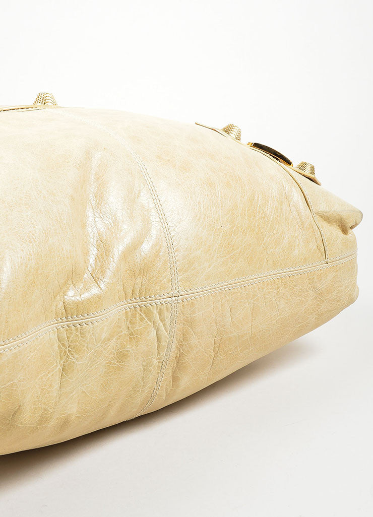 "Beige Gold Toned Stud Balenciaga ""Motocross Giant Brief"" Oversized Purse Bag Bottom View"
