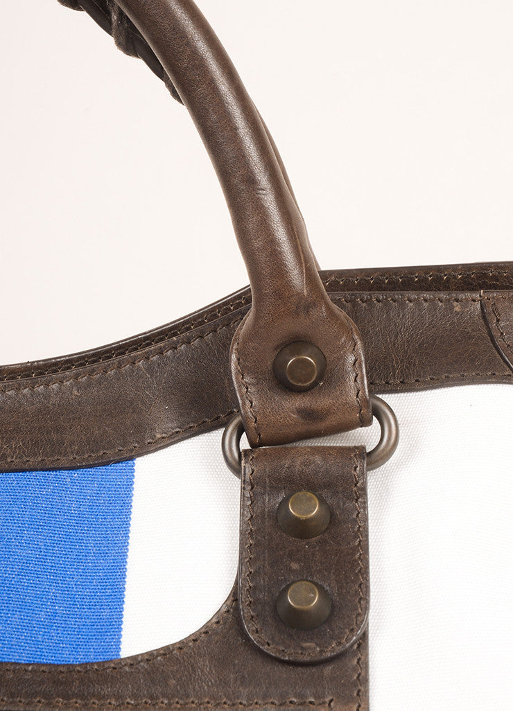 "Balenciaga Blue, White, and Brown Canvas and Leather Stripe ""City"" Bag Detail 2"