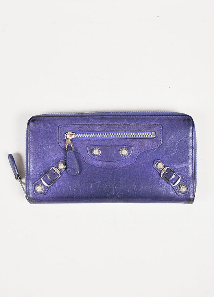 Balenciaga Purple Leather Silver Tone Hardware Continental Wallet Front