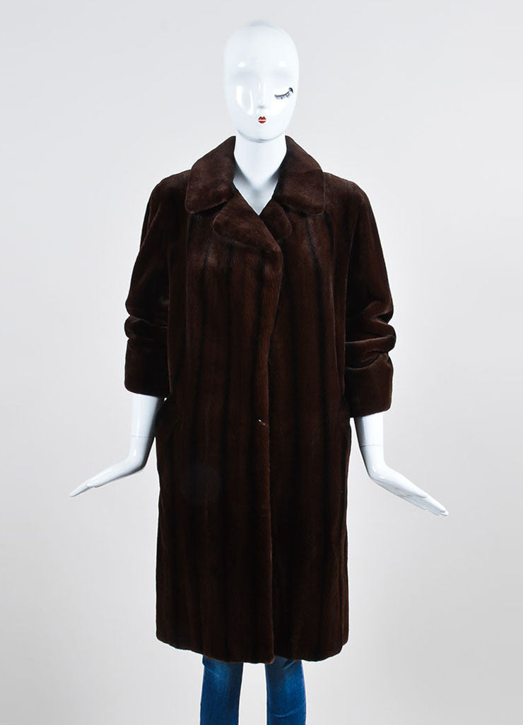 Brown and Black Bisang Fur Notch Lapel Coat Frontview 2