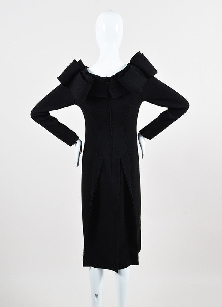 Bottega Veneta Black Crepe Off Shoulder Ruffle Detail Long Sleeve Sheath Dress Backview