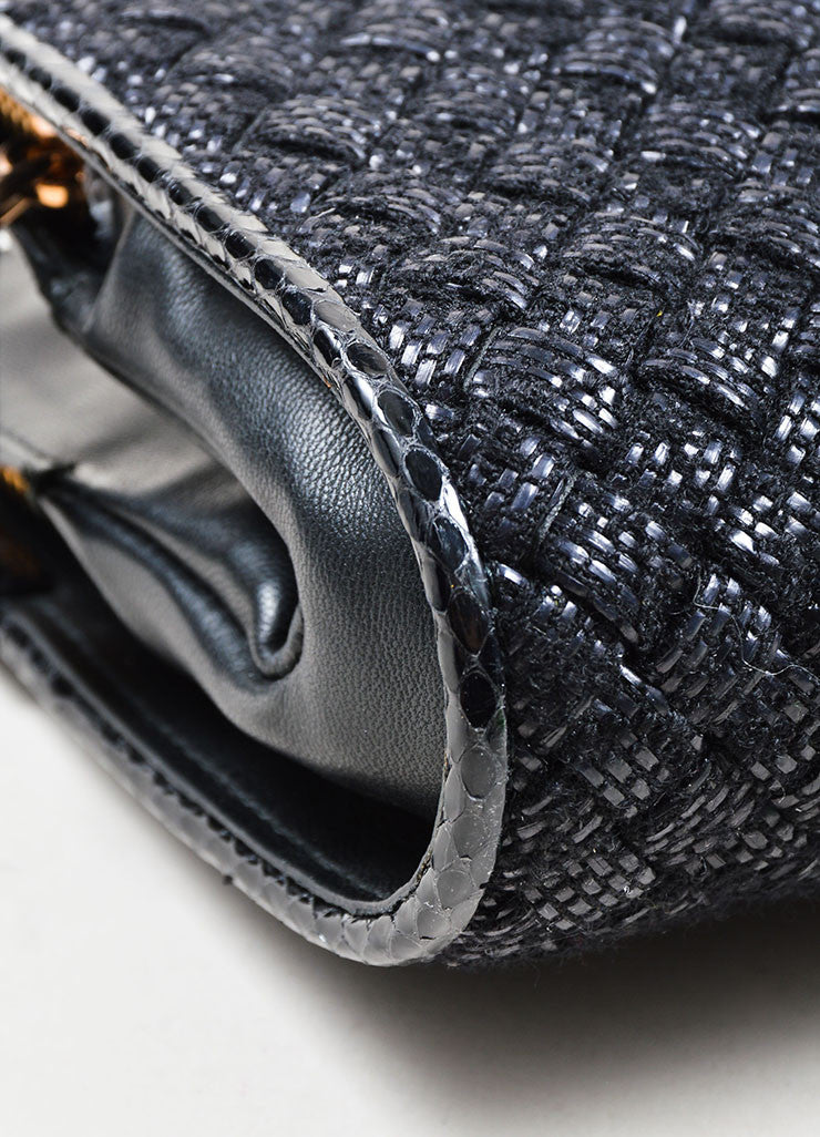 "Black Wool, Raffia, and Snakeskin Bottega Veneta Woven ""Ayers Livera"" Clutch Detail"