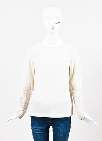 Brunello Cucinelli Beige Silk and Cashmere Crochet Trim Long Sleeve Blouse Frontview
