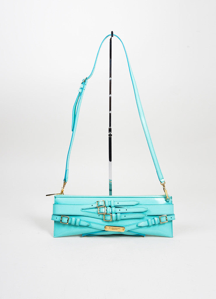 "Aqua Blue Burberry Prorsum Patent Leather Strap ""Bridle"" Shoulder Clutch Bag Frontview"