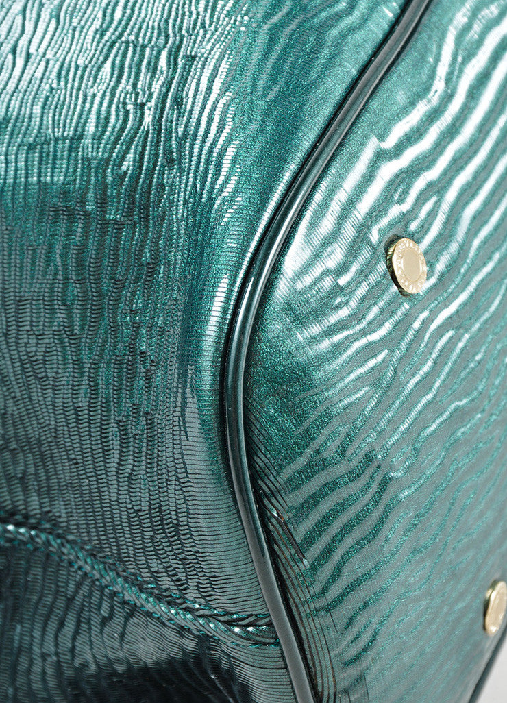 "Bulgari Green Patent Leather Ombre Textured Laser Cut ""Leoni"" Shoulder Bag Detail"