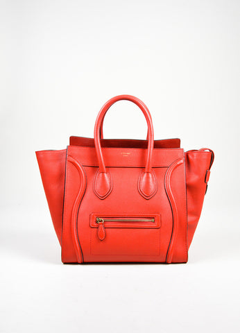 Red Celine Mini Luggage Drummed Leather Tote Bag