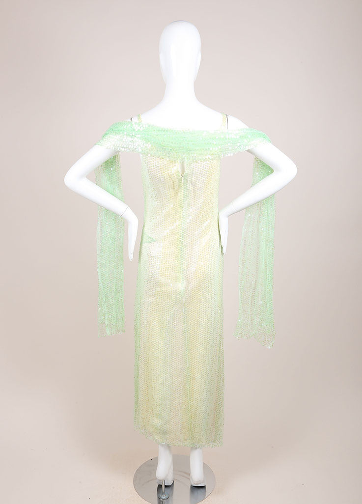 Chanel Green and Yellow Silk Sequin Embellished Shawl Detail Dress Backview