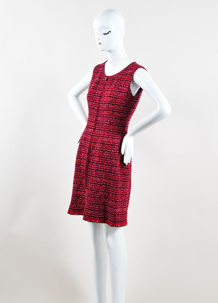 Chanel Red Tweed Knit Zip Front Sleeveless Shift Dress Side