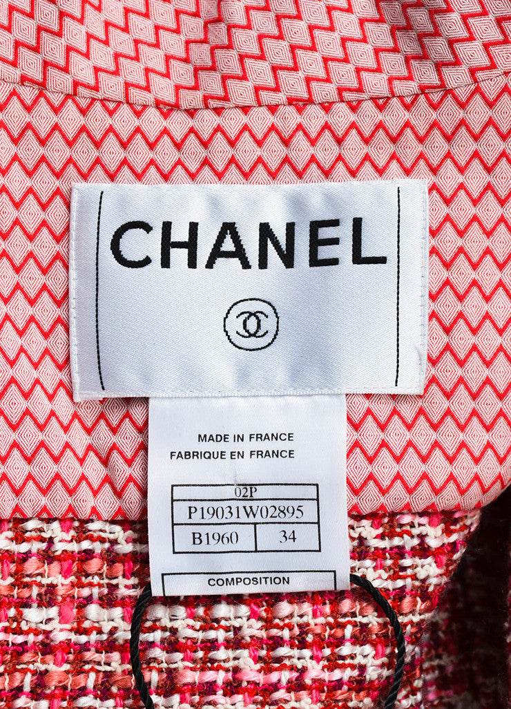 Chanel Pink Red Tweed Chevron Trim Short Sleeve Belted Jacket Brand
