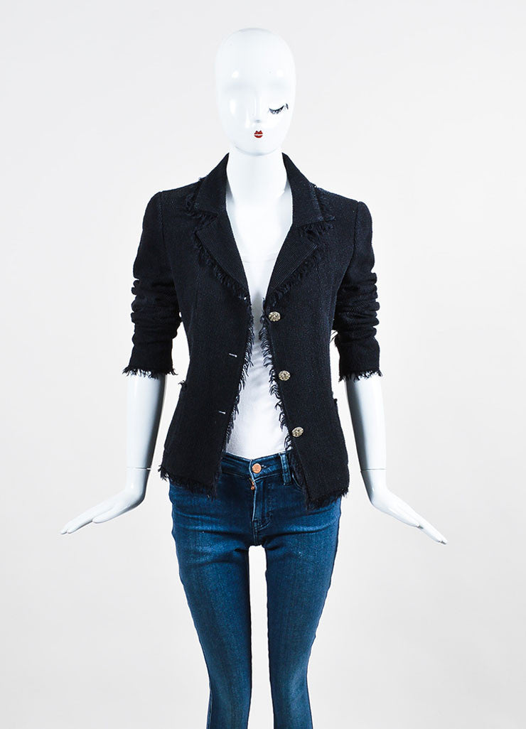 Black Chanel Wool and Silk Ribbed Texture 'CC' Button Fringe Jacket Frontview