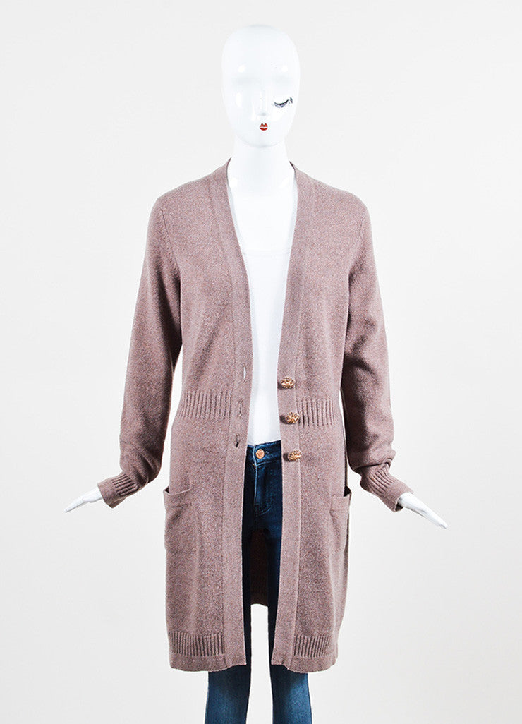 Chanel Purple and Brown Cashmere Rose Gold 'CC' Button Cardigan Sweater Frontview