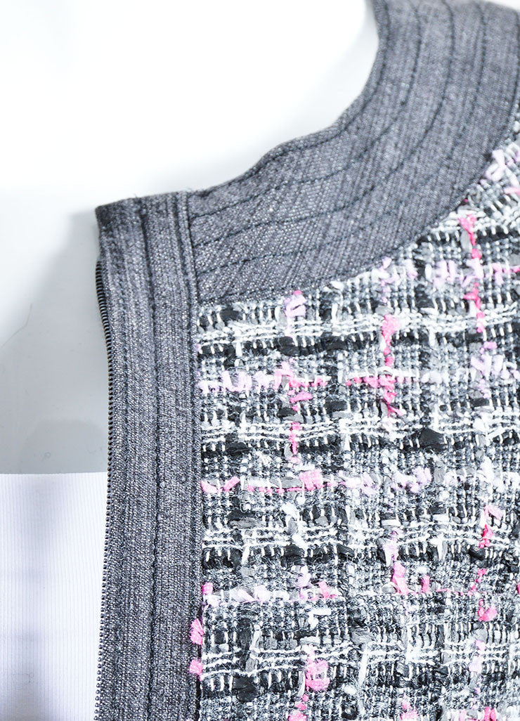Grey and Pink Chanel 07P Tweed Knit Cropped Jacket Detail