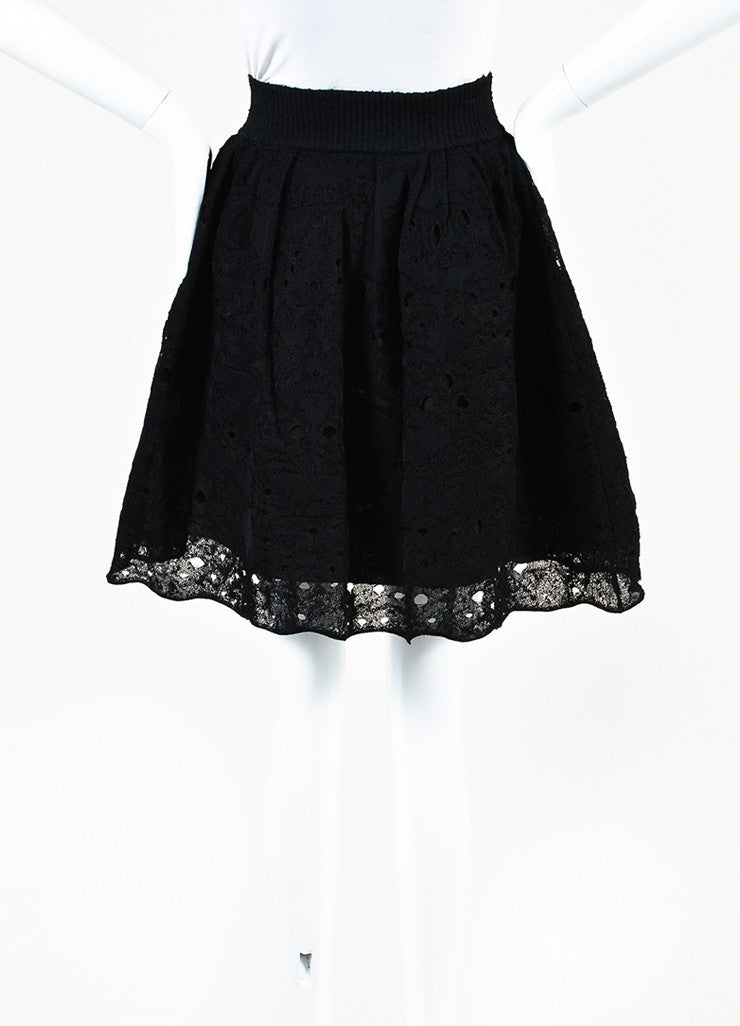 Chanel Black Lace Knit Pleated Flared Skirt Backview