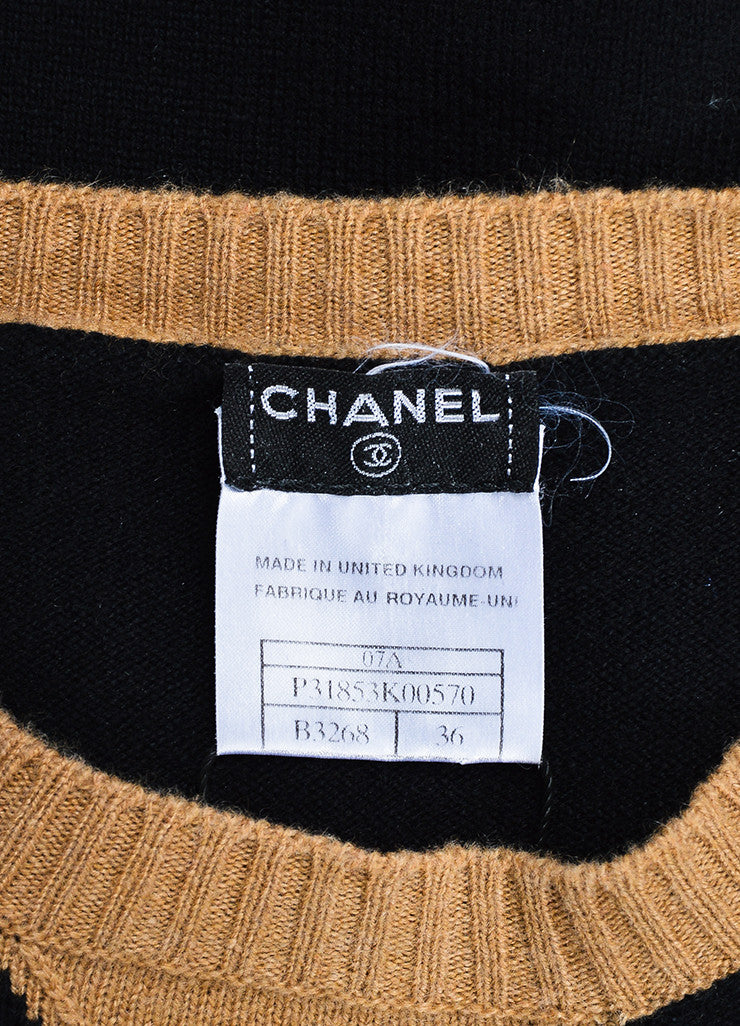 Black and Tan Chanel Cashmere Color Block Embellished Patch Sweater Brand