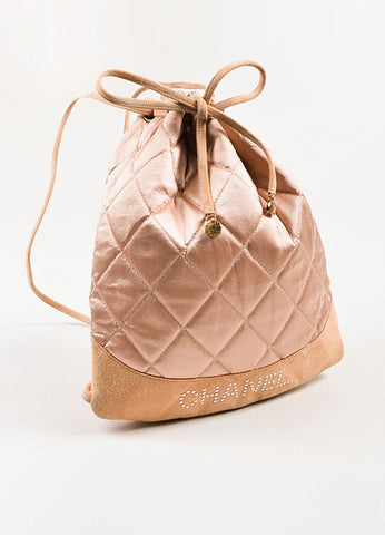 å´?ÌÜChanel Blush Pink Suede Satin Quilted Faux Pearl Drawstring Backpack Bag Sideview