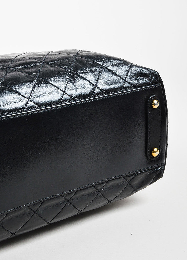 "Chanel Black Calfskin and Stingray Quilted ""Bindi"" Tote Bag Bottom View"