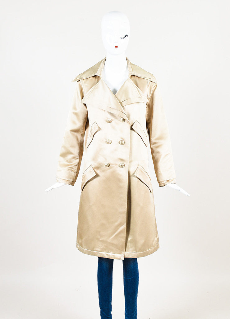 Chanel Golden Beige Gabardine Double Breasted 'CC' Button Trench Coat Frontview 2