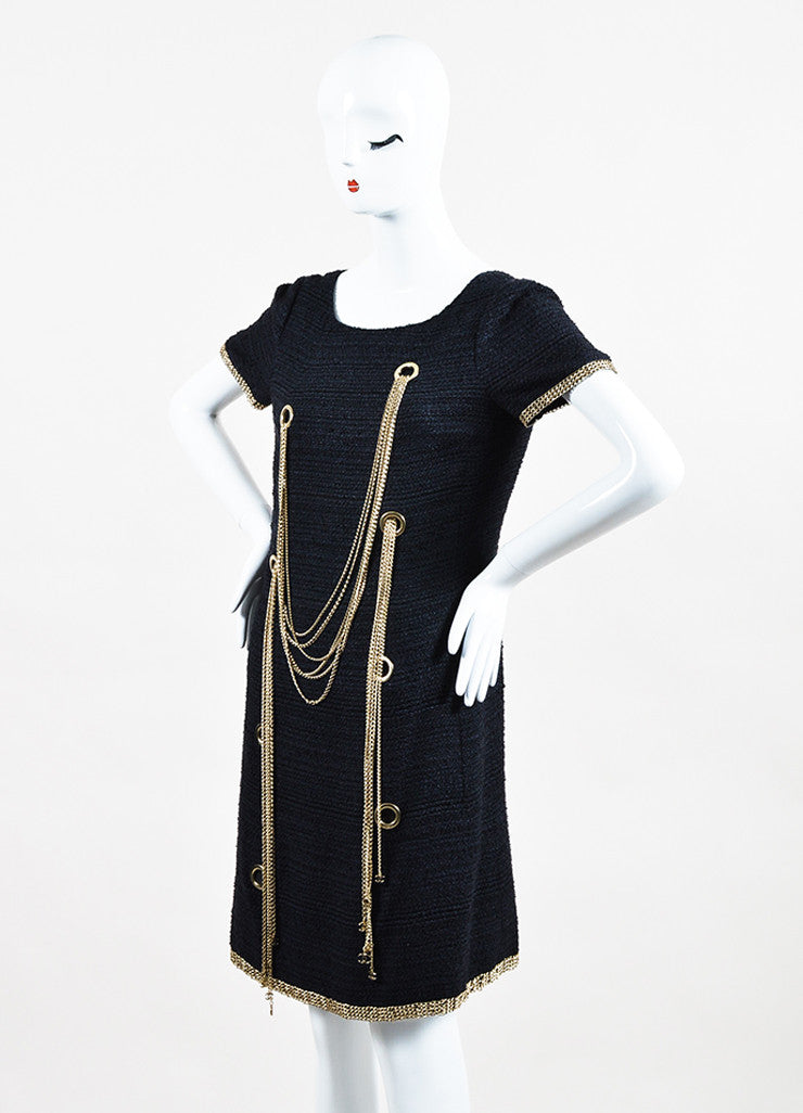Chanel Navy Gold Toned Silk Tweed Chain Link Embellished Short Sleeve Shift Dress Sideview