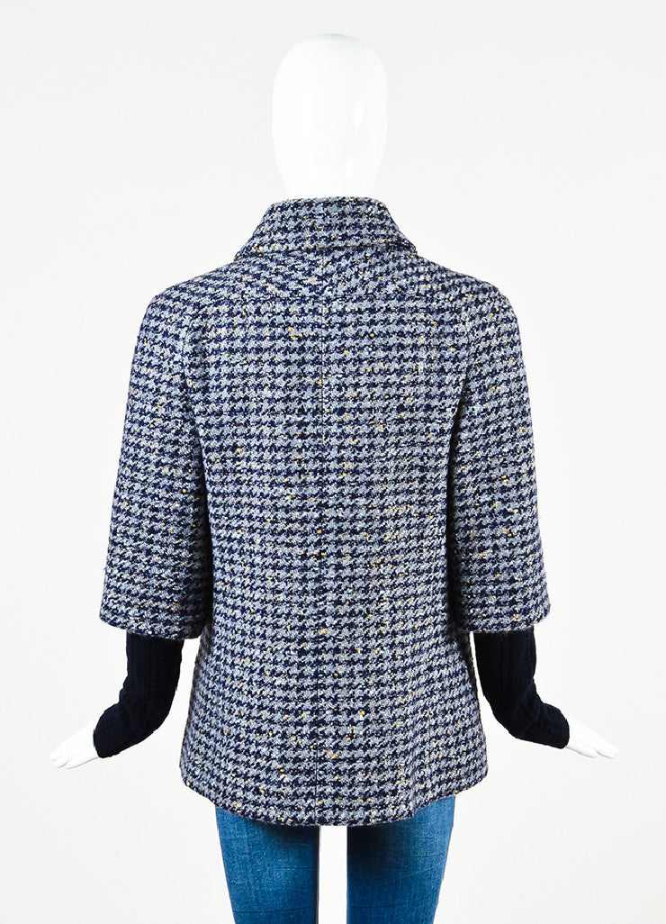 Chanel Navy Wool Silver & Gold Metallic Trim Houndstooth Collared Coat back