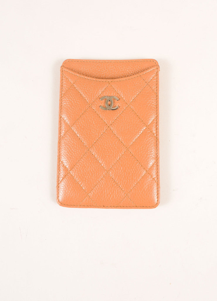 "Chanel Tan Quilted Leather and Silver Toned ""CC"" Cell Phone Holder Frontview"