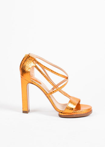 Chloe Metallic Orange Ayers Snakeskin Leather High Heel Sandals Sideview