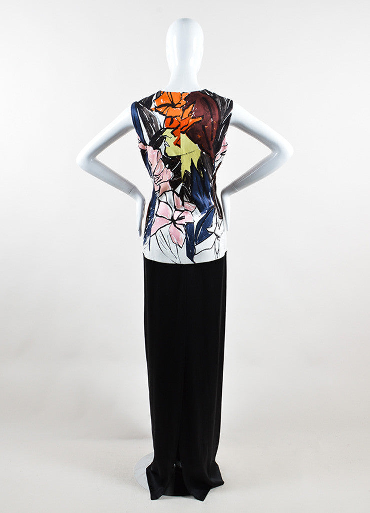 Christian Dior Black and Multicolor Silk Abstract Floral Print Gown Backview