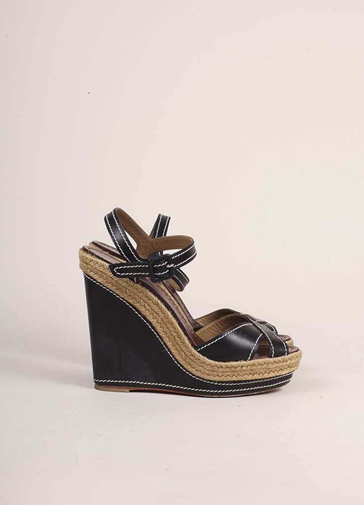 Christian Louboutin Black Leather Espadrille Wedge Sandals Sideview