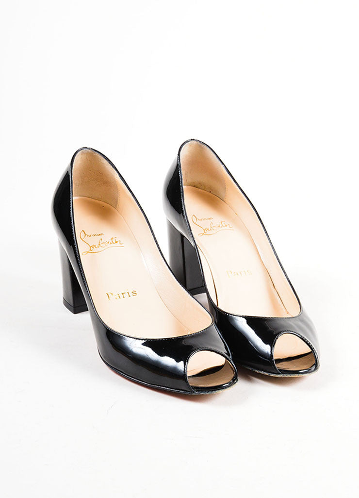 Black Christian Louboutin Patent Leather Peep Toe Pumps Frontview