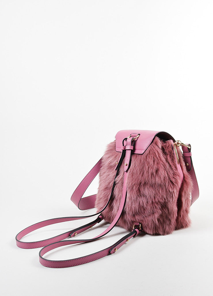 "Rose ‰ۢÌöÌÛChristian Louboutin Leather and Faux Fur ""Lucky L"" Bucket Backpack Backview"