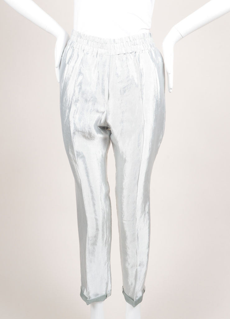 "Christian Wijnants New With Tags Silver Metallic Linen Blend ""Piet"" Pants Frontview"