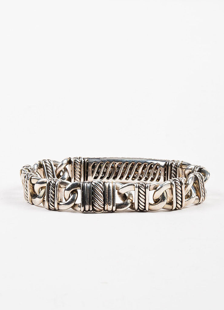"David Yurman Sterling Silver and Pave Diamond ""Madison Cable"" ID Bracelet Backview"
