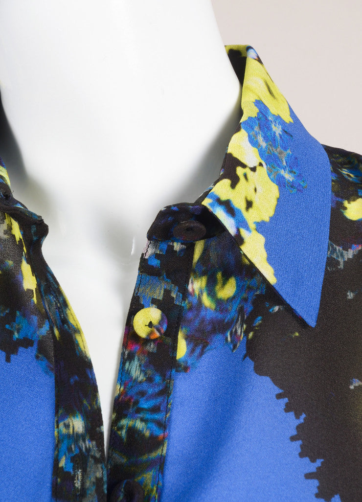 "Erdem New With Tags Multicolor Abstract Floral Print ""Celia"" Long Sleeve Silk Blouse Detail"