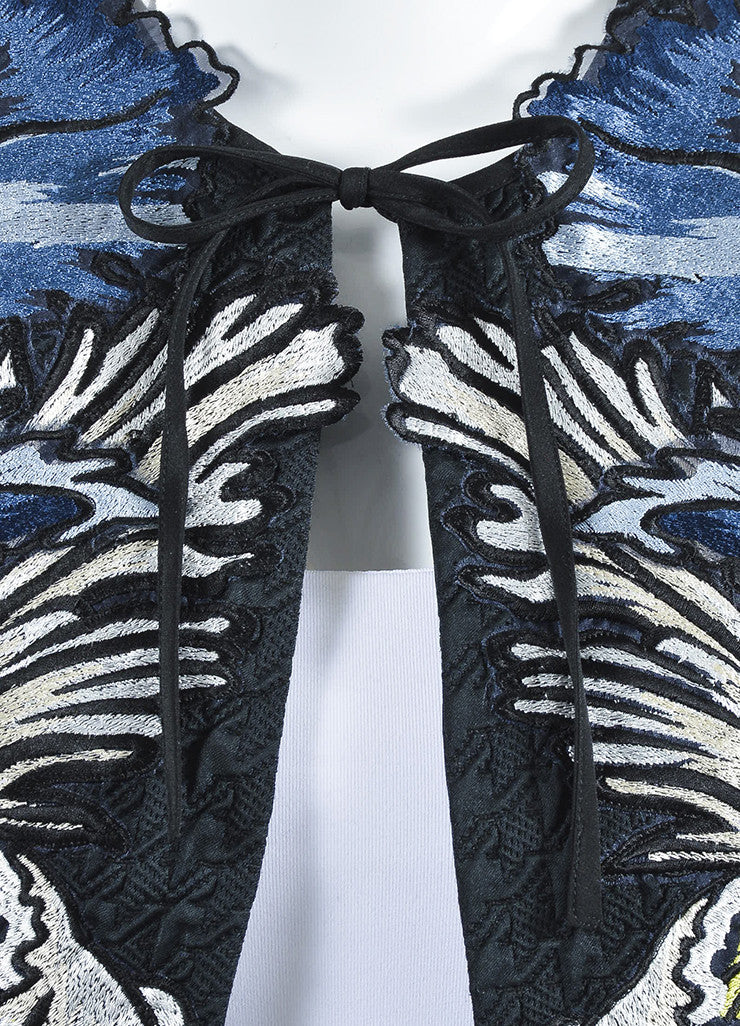 "Erdem Blue and Black Matelasse Embroidered Cropped ""Chessa"" Jacket Detail"