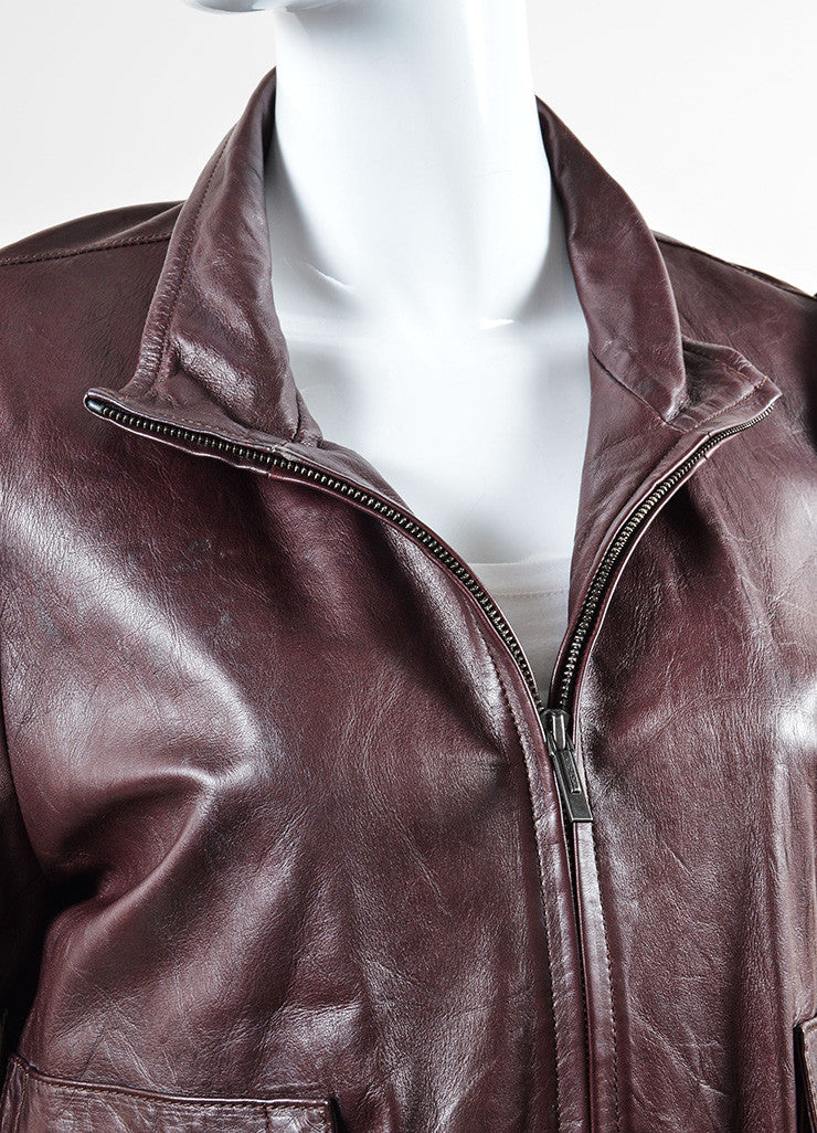 Fendi Oxblood and Black Leather and Knit Ruffled Bomber Jacket Detail