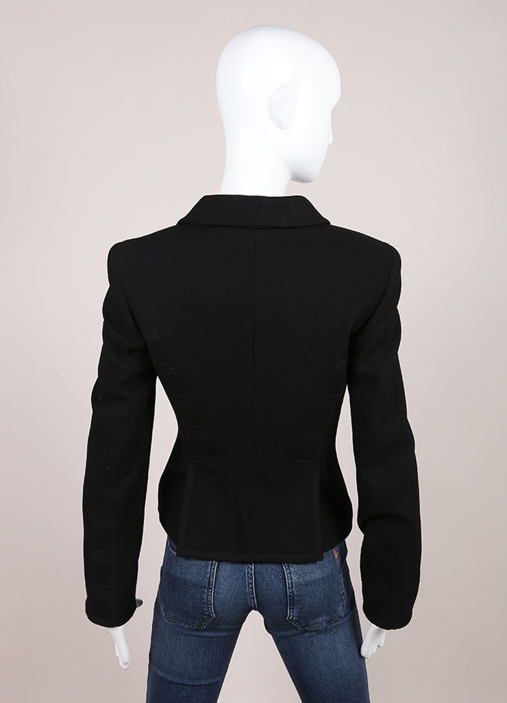 Gianni Versace Black Textured Hook and Eye Wool Blend Blazer Jacket Backview