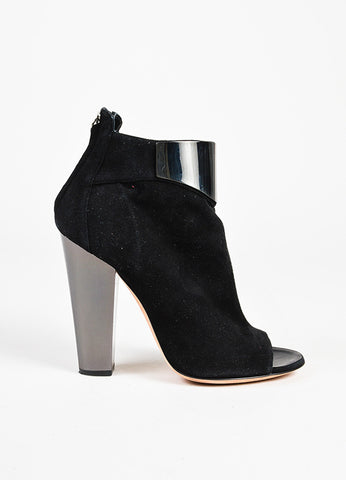 Giuseppe Zanotti Black Suede Metal Trim Peep Toe Heeled Ankle Boots Sideview