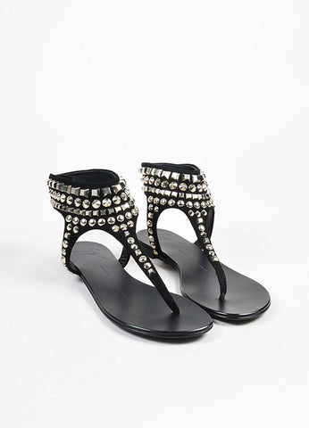 Giuseppe Zanotti Black and Silver Toned Suede Studded Thong Sandals  Frontview